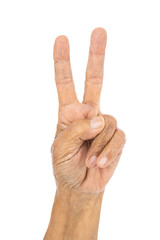 senior hand counting number 2 (two) isolate on white background