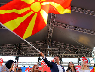 Macedonian PM Zaev addresses the people during a march in support of a referendum in Skpoje