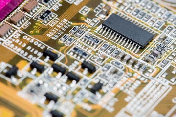 Abstract,Close up of Mainboard Electronic computer ,Technology background.