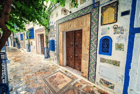 Hammamet Medina old town streets. Tunis, north Africa.