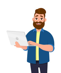 Successful young man holding/using laptop computer (PC). Laptop computer technology concept in vector illustration style.