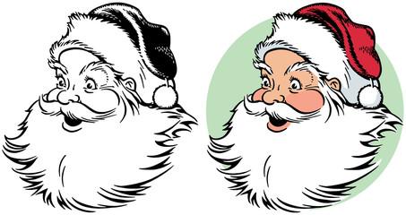 A cartoon portrait of a smiling Santa Claus