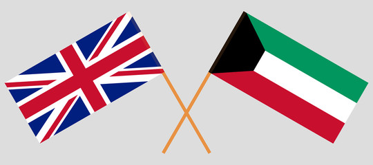 Kuwait and UK. Kuwaiti and British flags. Official colors. Correct proportion. Vector