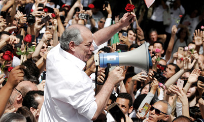 Presidential candidate Ciro Gomes of the Democratic Labour party (PDT) uses a megaphone to talk to his supporters during a campaign rally in Sao Paulo