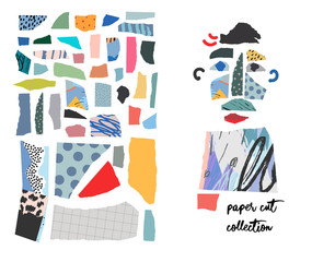 Set with paper cut pieces. Different shapes and hand drawn textures. Creative fun collage.