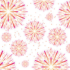 Vector illustration of colorful fireworks on white background.