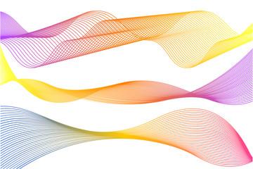 Vector illustration of colorful line sound wave. Audio equalizer technology concept.