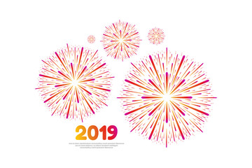 Vector illustration of happy new year 2019. Colorful fireworks on a white background.