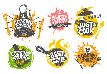 Sketch style cooking lettering icons set. For badges, labels, logo, bread shop, bakery, street festival farmers market country fair shop kitchen classes. Hand drawn vector illustration.