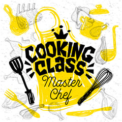 Sketch style master chef cooking class lettering. Sign, logo, emblem. Pan, pot, knife, fork, apron, chicken meat ribs steaks wings. Hand drawn vector illustration