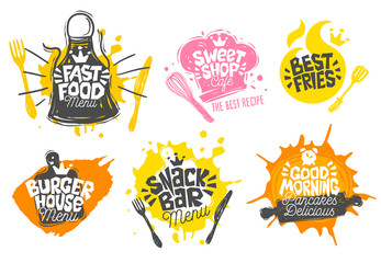 Sketch style cooking lettering icons set. For badges, labels, logo, sweet shop, bakery, snack bar, street festival farmers market, country fair shop, kitchen classes, cafe, food studio