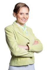 Portrait of Beautiful businesswoman posing isolated on white