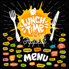 Lunch time fork knife menu. Lettering calligraphy logo sketch style light rays craft pasta, vegan, tea, coffee, desserts, yummy, milk, food, salad. Hand drawn vector illustration.