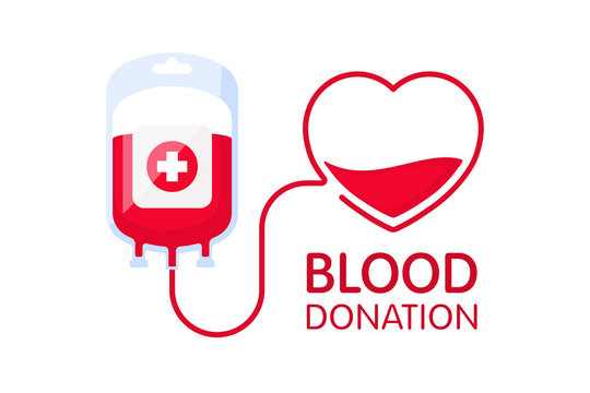 Donate blood concept with blood bag and heart. Blood donation vector illustration. World blood donor day - June 14.