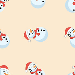 Cute seamless pattern with snowman with background for Christmas and new year decoration. Vector illustration of EPS 10. Merry Christmas!