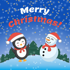 Snowman and penguin. Holiday card. Merry Christmas!