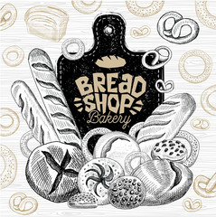 Bread shop market logo design, healthy food shop. Bakery, bread, baguette, bagel, bun loaf bakery products, bread baking. Good nutrition. Hand drawn vector illustration.