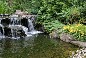 The waterfall and pond are very peaceful.
