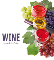 wine in glasses, wine bottle, different sort of grapes and leaves with copy space