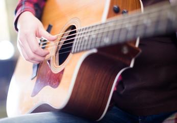 guitar. Focus on strings of guitar
