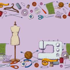 Seamless borders of tools for needlework and sewing. Handmade equipment and needlework accessoriesy, sketch illustration. Vector