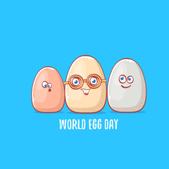 world egg day concept funny illustration with cute white egg cartoon kawaii character isolated on blue background.