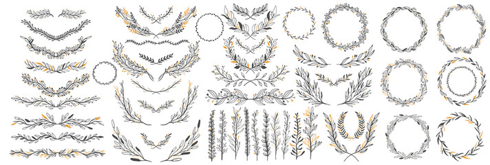 Hand sketched vector vintage elements: wreath,leaves, frame. Perfect for invitations, greeting cards, quotes, blogs, Wedding Frames, posters