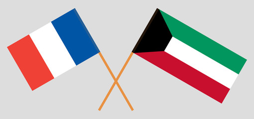 Kuwait and France. Kuwaiti and French flags. Official colors. Correct proportion. Vector