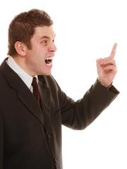 Furious teacher or business man shaking finger