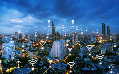 Fotomurales - Wireless network and connection city