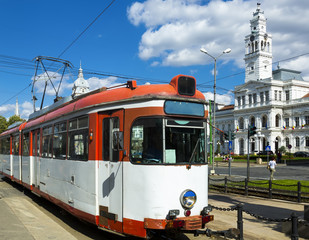 Tram on Arad town hall square