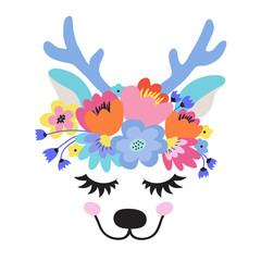 The face of a cute deep, a wreath of flowers on his head. Eyes closed and smiling. Vector illustration on a white background.