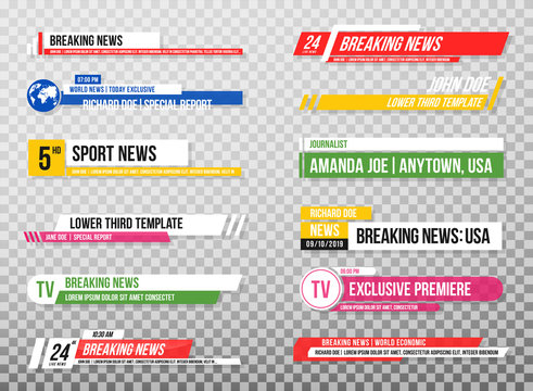 Lower third template. Set of TV banners and bars for news and sport channels, streaming and broadcasting. Collection of lower third for video editing