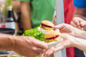 Vegitarian Burger on street food festival