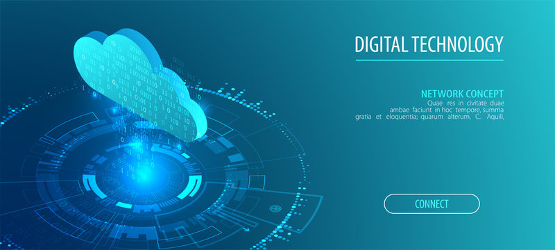 Isometric big data flow processing concept, cloud database. Abstract technology background.