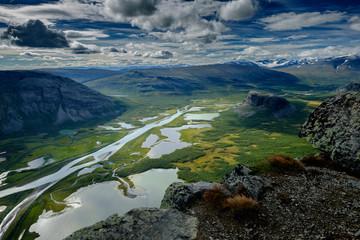 Blick vom Skierfe auf das Rapadalen-Delta, Lappland, Schweden