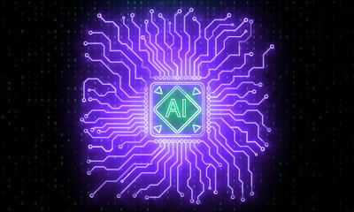 Neon circuit brain background