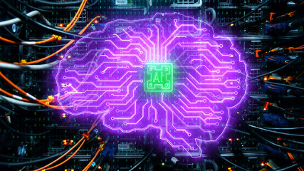Neon circuit brain backdrop