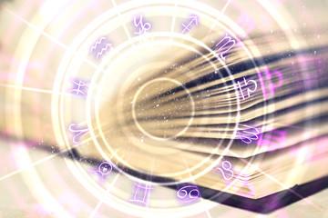 Creative book with zodiac wheel