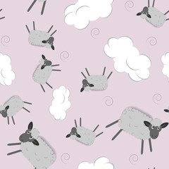 Sweet dreams seamless pattern with cute sheeps and clouds. Vector illustration