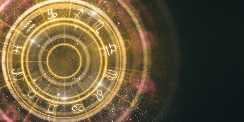 Abstract amber zodiac wheel background