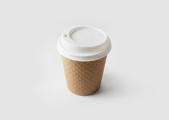 Blank take away kraft coffee cup with cap.