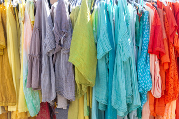 Colorful clothes rack at a market