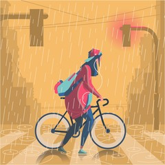 giel with bike in the rain