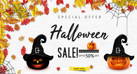 Hallowen Sale vector illustration with pumpkin head. Halloween special offer.