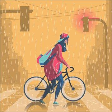 giel with bike in the rain