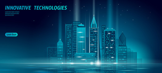 Smart city 3D neon glowing cityscape. Intelligent building automation night futuristic business concept. Web online blue color future technology. Urban banner vector illustration