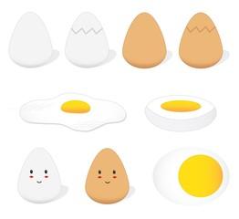 Eggs, sunny side up, hard-boiled, cute eggs