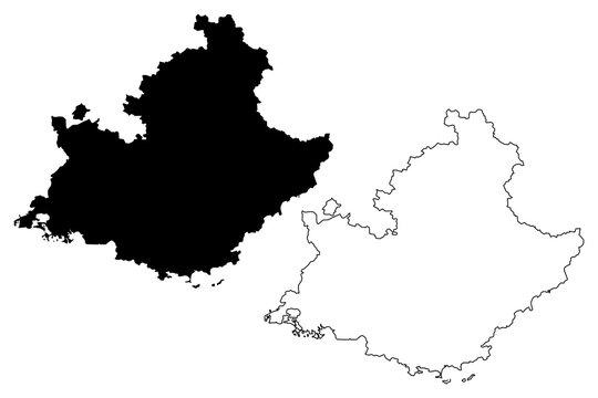 Provence-Alpes-Cote d'Azur (France, administrative region, PACA) map vector illustration, scribble sketch Provence-Alpes-Côte d'Azur map