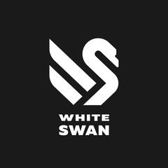 White swan linear logo, simbol. Vector illustration.